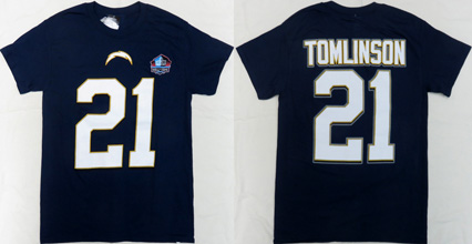 NFL Pro Football Hall of Fame Sandiego Chargers LaDainian Tomlinson ( ラダニアン・トムリンソン ) 背番号Tシャツ